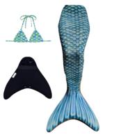 Marine Blue zeemeermin staart met  bikini top en monovin