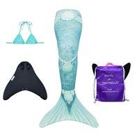 Shelly glitter zeemeermin staart met bikini top, monovin en rugtas