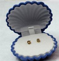 Blauw schelpendoosje voor ketting of oorbelletjes